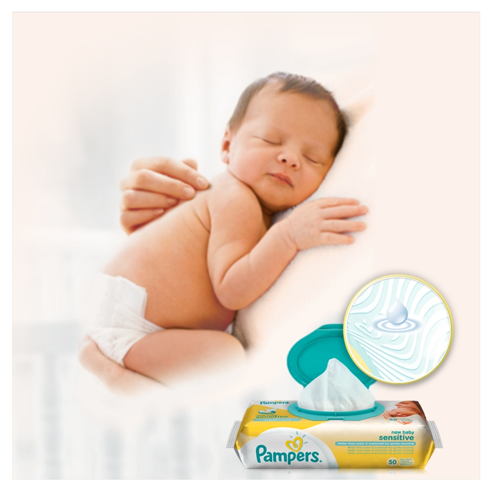 Picture of Pampers New Baby Sensitive Baby Wipes (Case of 12 x 50)