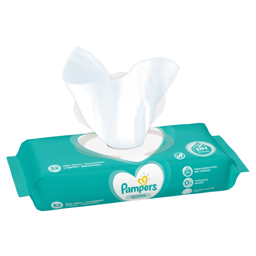 Picture of Pampers Sensitive Baby Wipes (Case of 12 x 52)