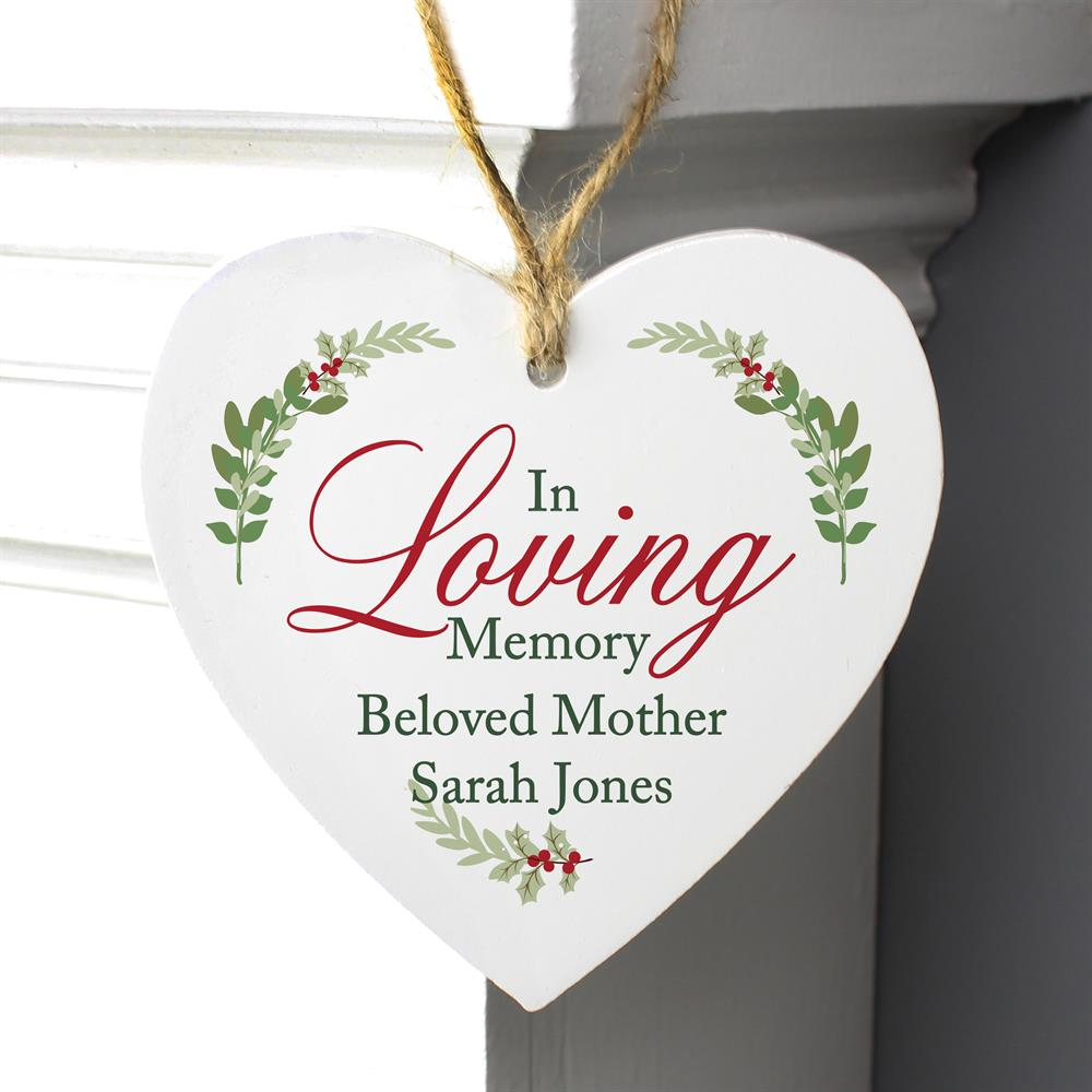 Picture of Personalised Loving Memory Wooden Heart Decoration