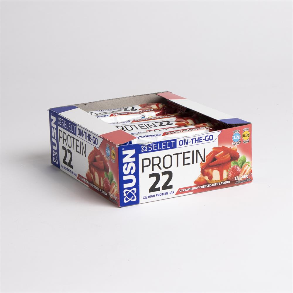 Picture of USN Protein 22 High Protein Bar - Strawberry Cheesecake (12 x 60g)