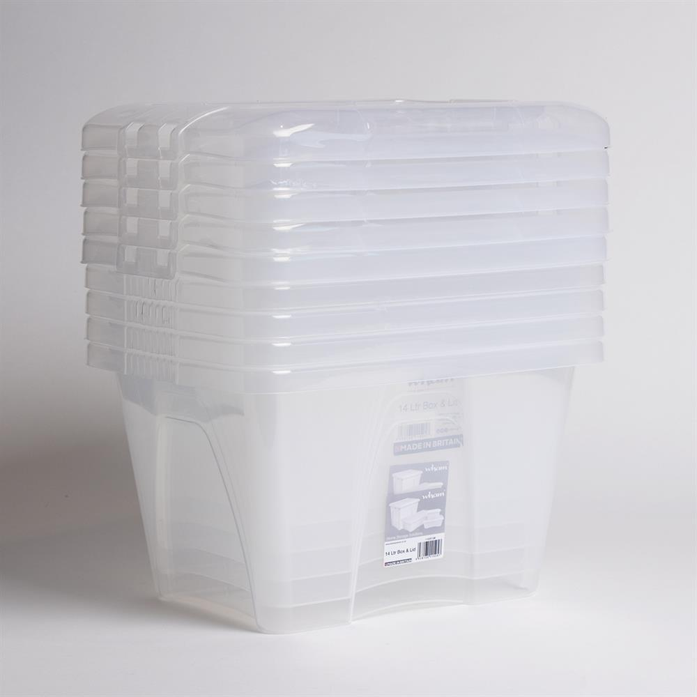 Picture of Wham Home Storage Box & Lid - Clear (5 X 14Litre)