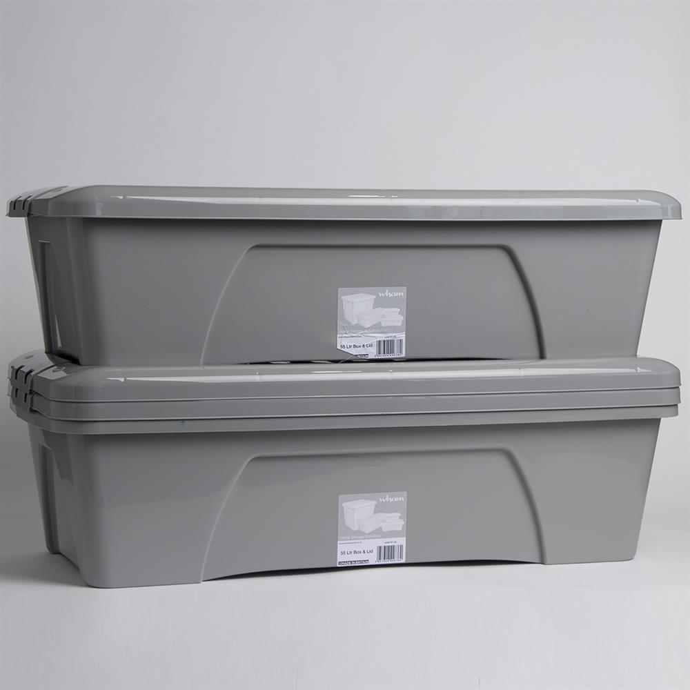 Picture of Wham Home Storage Box & Lid - Grey (3 x 55Litre)