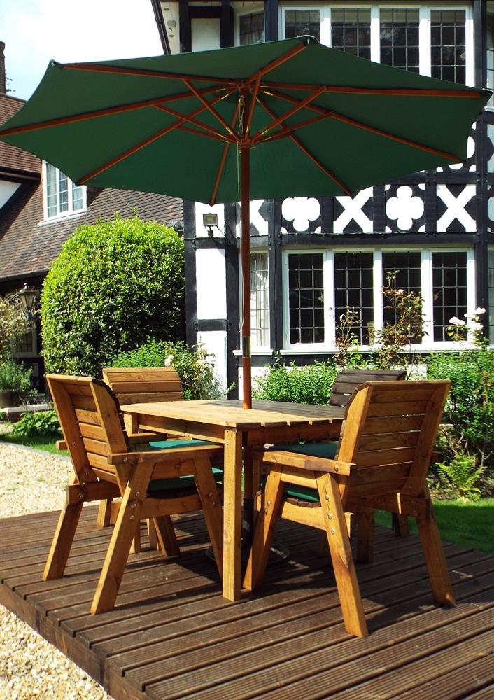 Picture of Charles Taylor Wooden Four Seat Rectangular Garden Furniture Set with Parasol & 4 Seat Cushions