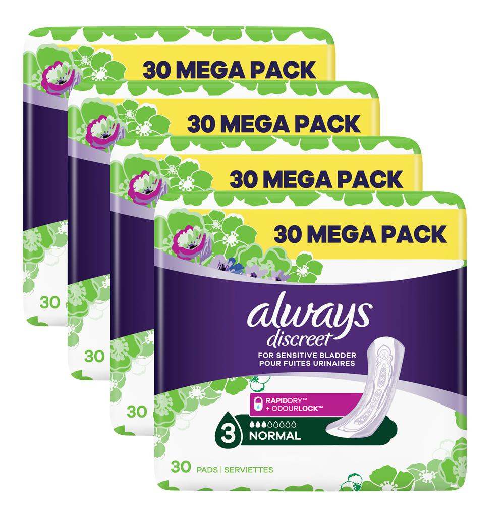 Picture of Always Discreet For Sensitive Bladder Normal (4 x 30 Pads)