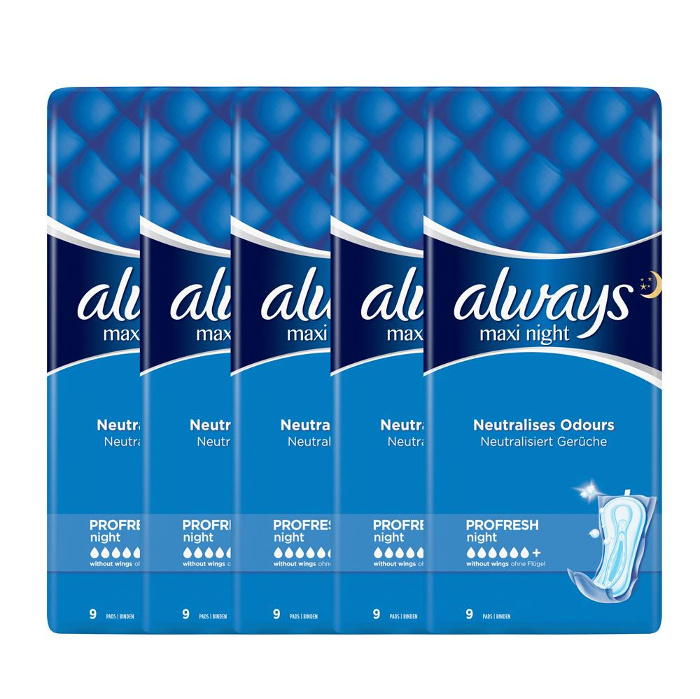 Picture of Always Maxi Profresh Night Sanitary Towels Without Wings (5 x 9 Pads)