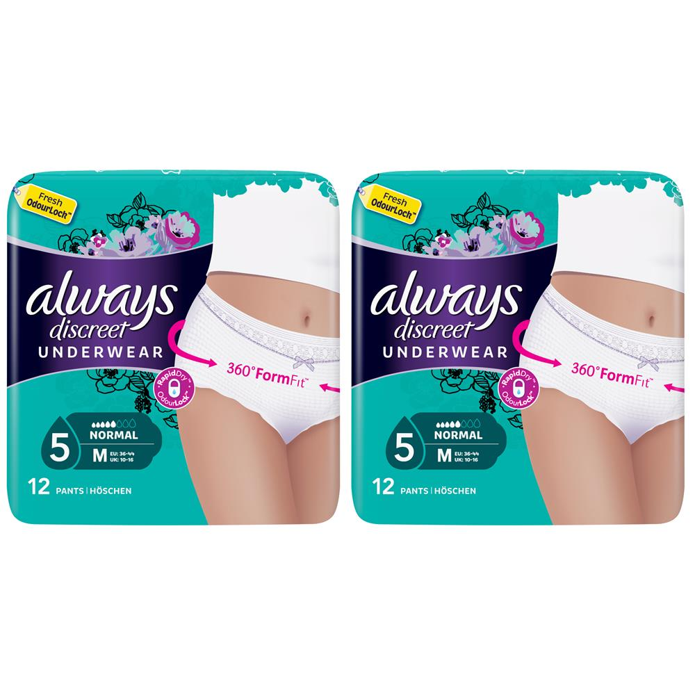 Picture of Always Discreet Underwear Incontinence Pants Normal Medium (2 x 12 Pants)