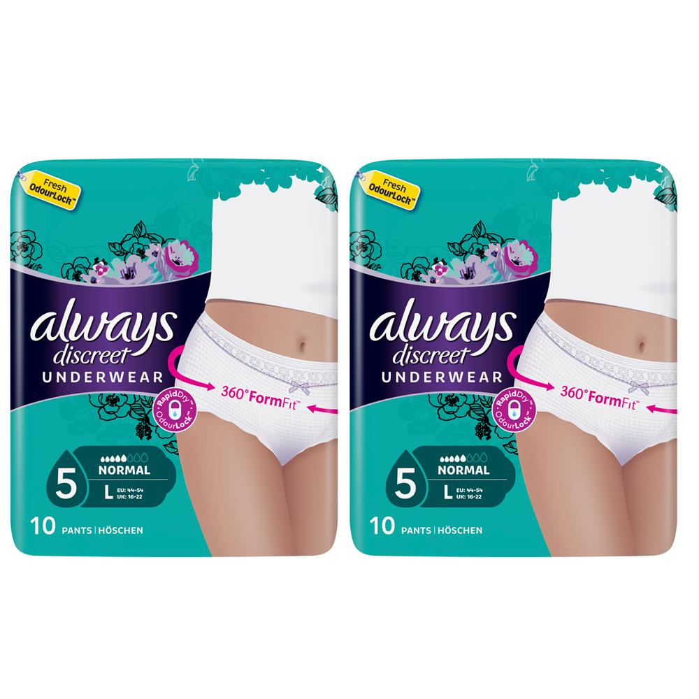 Picture of Always Discreet Underwear Incontinence Pants Normal Large (2 x 10 Pants)