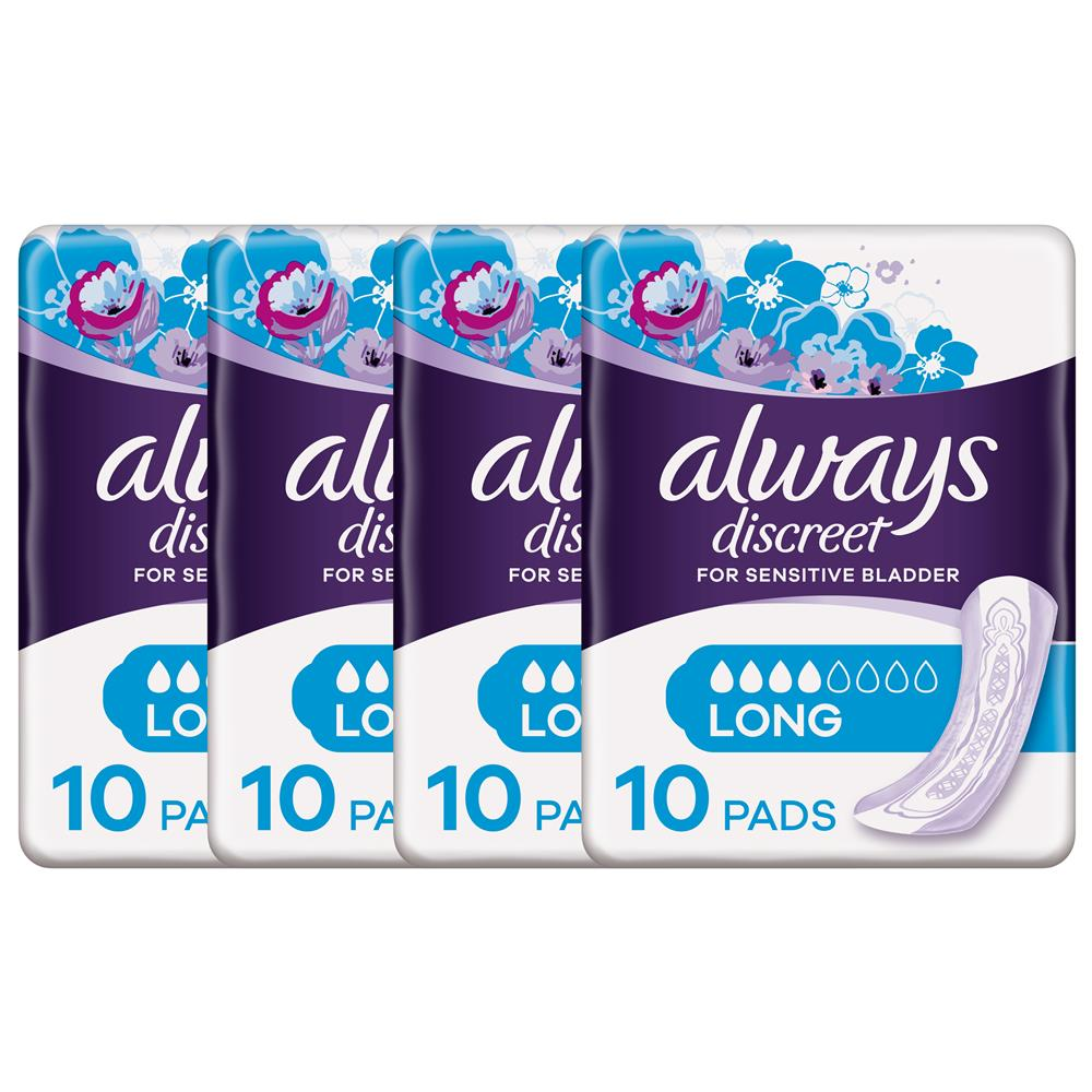 Picture of Always Discreet Pads Long (4 x 10 Pads)