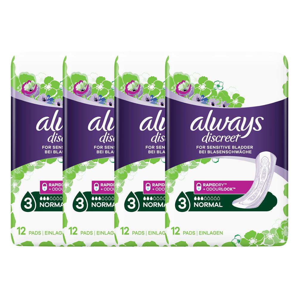 Picture of Always Discreet For Sensitive Bladder Normal (4 x 12 Pads)