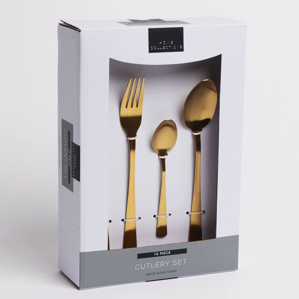 Picture of Home Collections: 16 Piece Cutlery Set - Matte Gold Finish