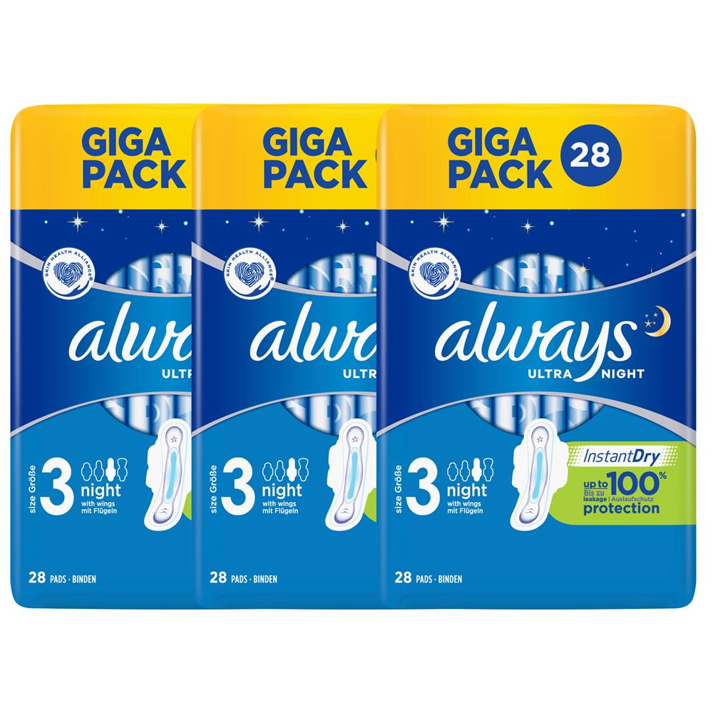 Picture of Always Ultra Sanitary Towels Size 3 Night With Wings XL (3 x 28 Pads)