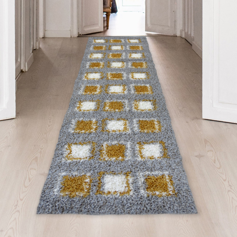 Picture of Verve Shaggy Cube Ochre Rug