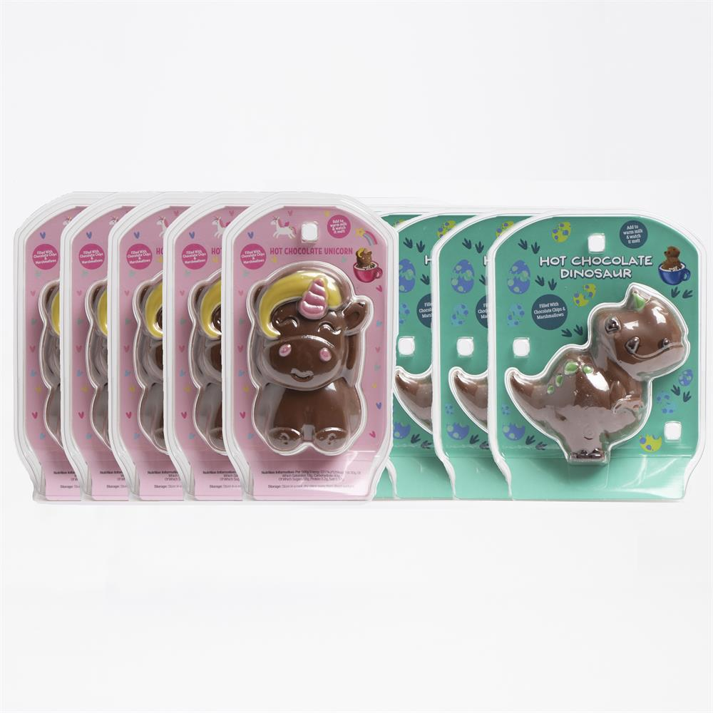 Picture of Hot Chocolate Dinosaurs & Unicorns Filled With Marshmallows & Chocolate Chips (10 Pack)