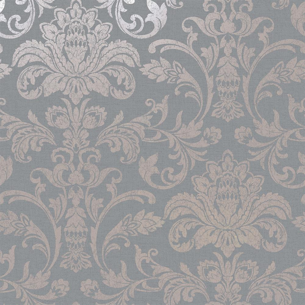 Picture of Glistening Damask Grey Wallpaper