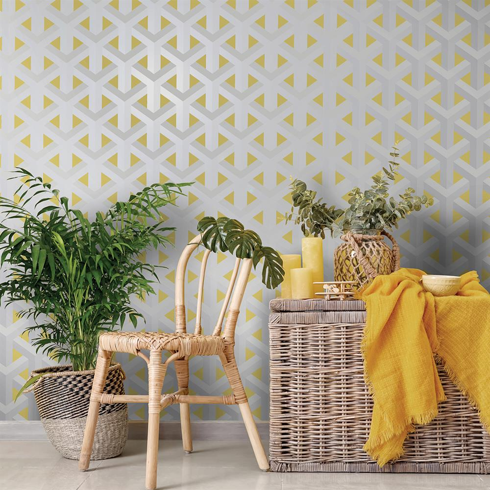 Picture of Glistening Trident Geo Grey/Yellow/Gold Wallpaper