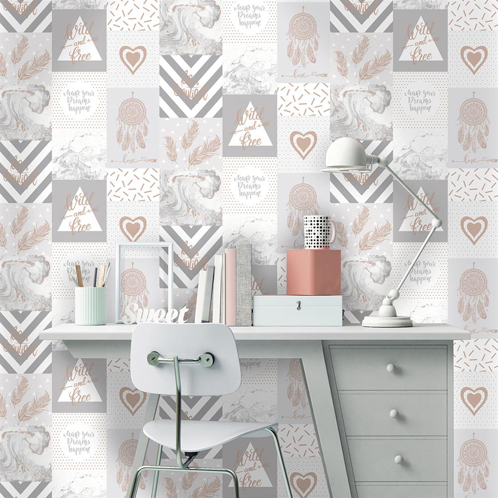 Picture of Life Is Beautiful Grey/Rose Gold Wallpaper