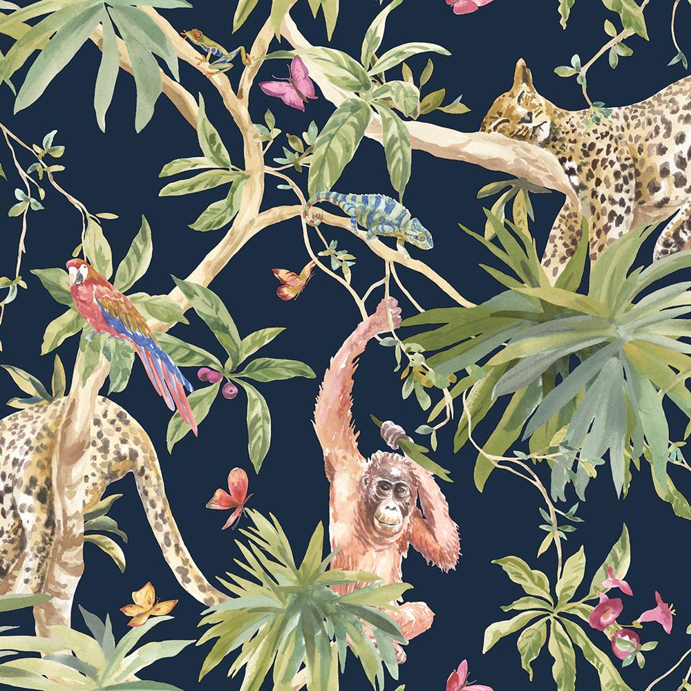 Picture of Jungle Animals Navy Wallpaper