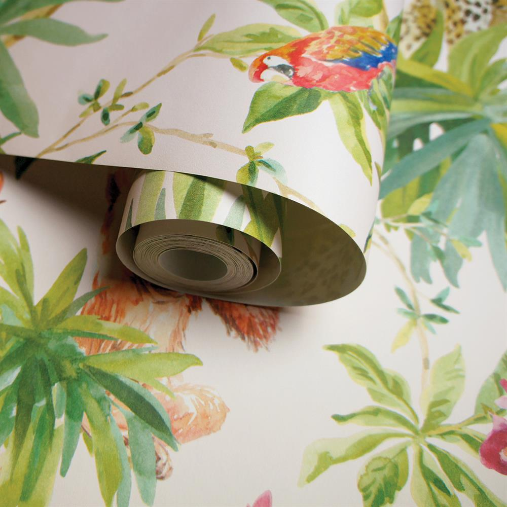 Picture of Jungle Animals Light Pink Wallpaper