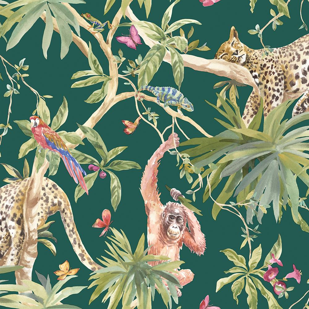 Picture of Jungle Animals Green Wallpaper