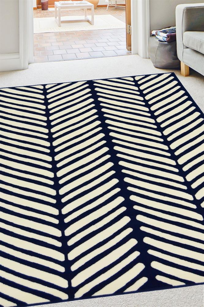 Picture of Navy Chevron Rug