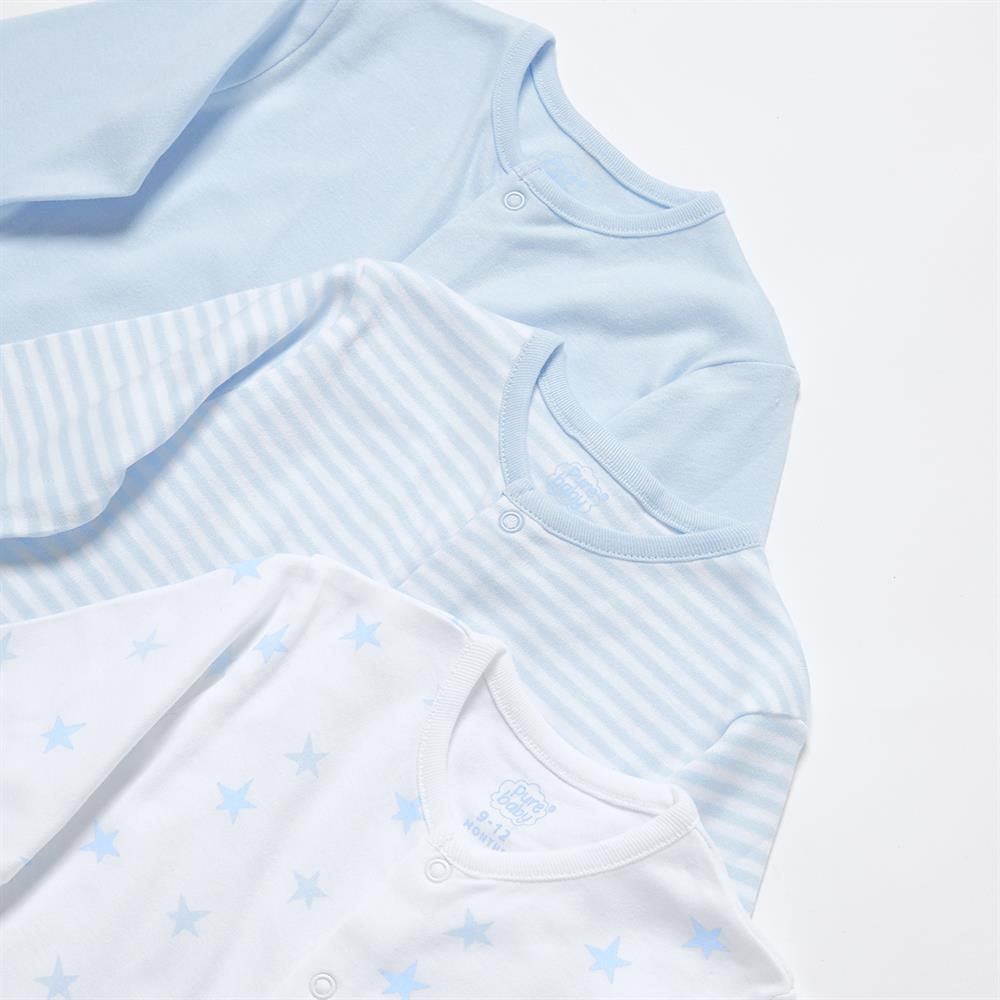 Picture of Pure Baby: Baby Grow 3 Pack - Blue