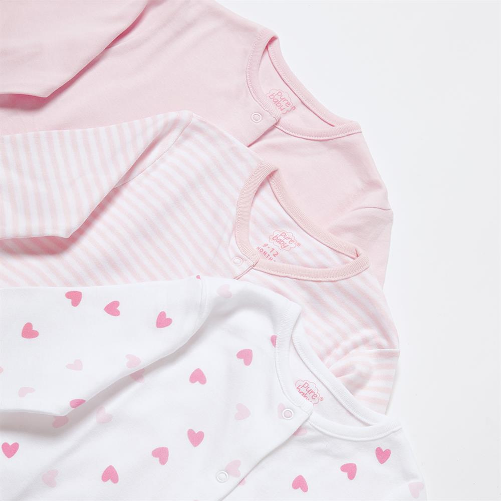 Picture of Pure Baby: Baby Grow 3 Pack - Pink