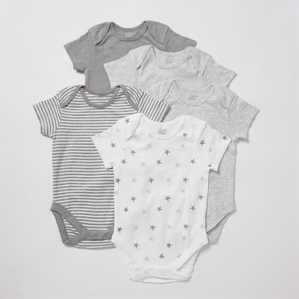 Picture of Pure Baby: Body Suit 5 Pack - Grey