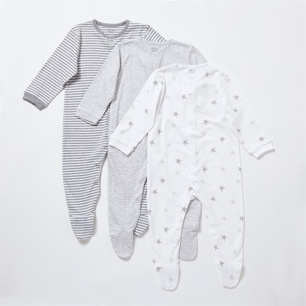 Picture of Pure Baby: Baby Grow Printed Suits - Grey 3 Pack
