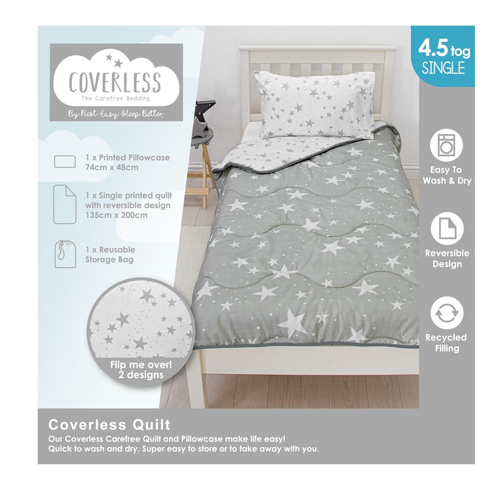 Picture of Grey Stars Coverless Carefree Reversible Bedding Set