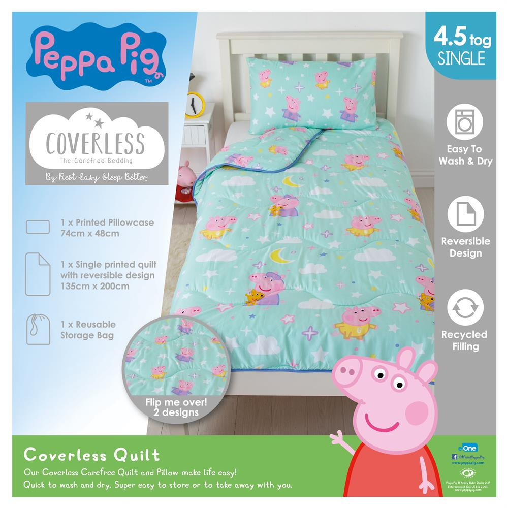 Picture of Peppa Pig Dreamer Coverless Carefree Reversible Single 4.5 Tog Bedding Set