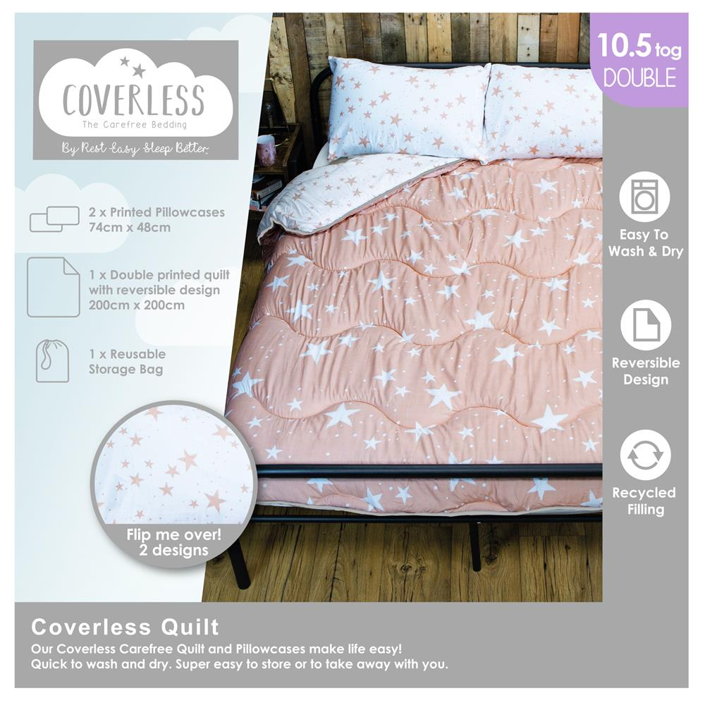 Picture of Pink Stars Coverless Carefree Reversible Bedding Set