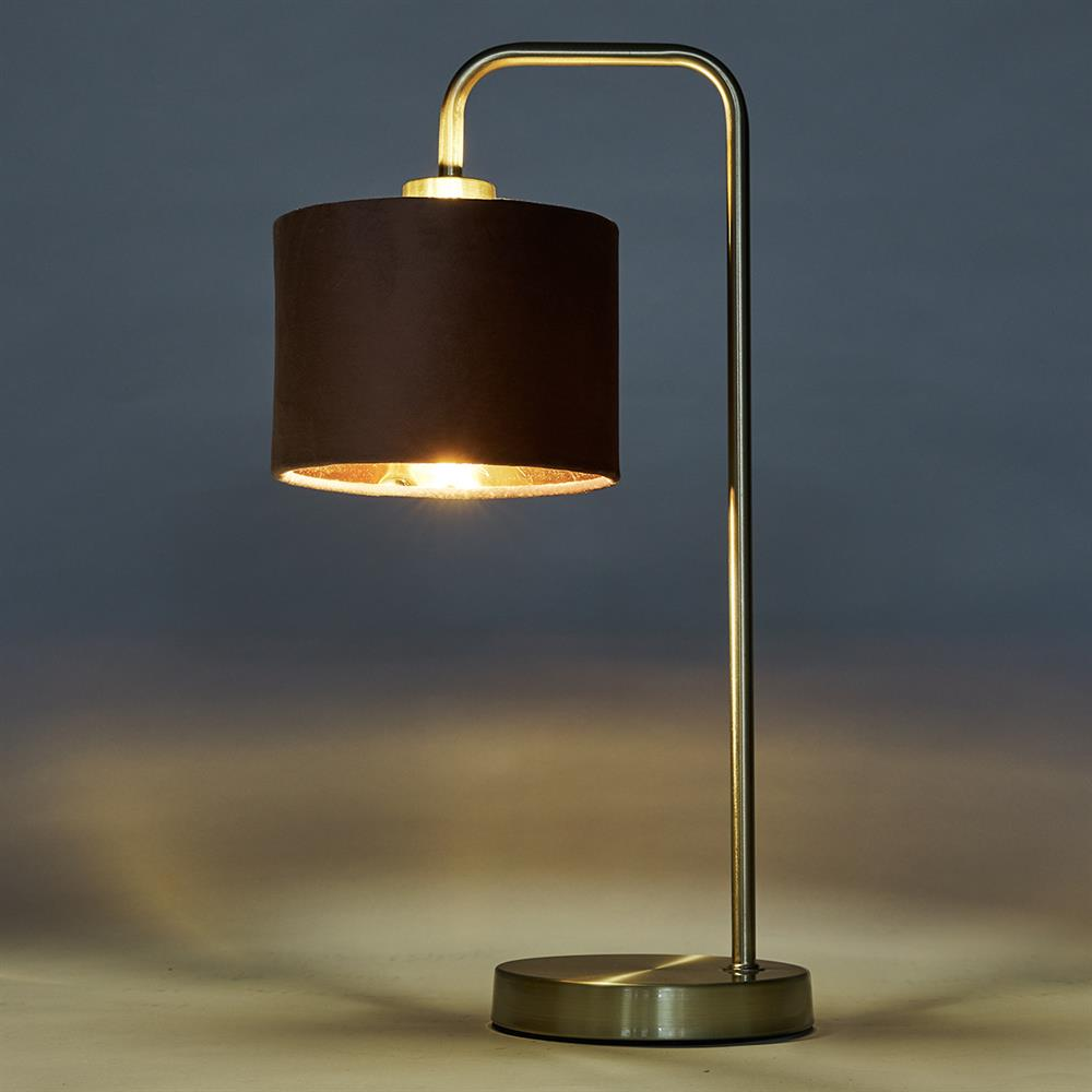Picture of Home Collections: Velvet Brass Table Lamp - Blush