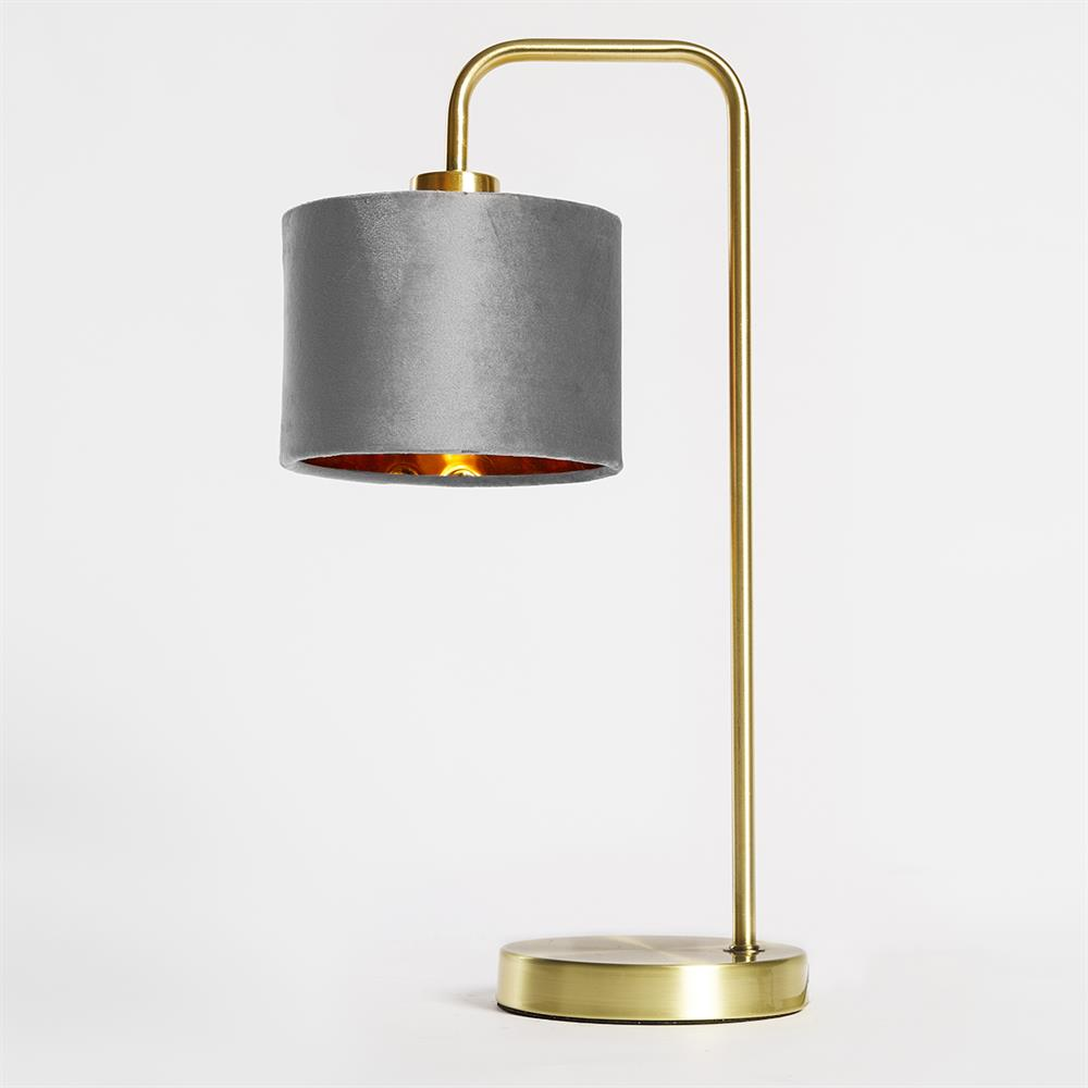 Picture of Home Collections: Velvet Brass Table Lamp - Grey