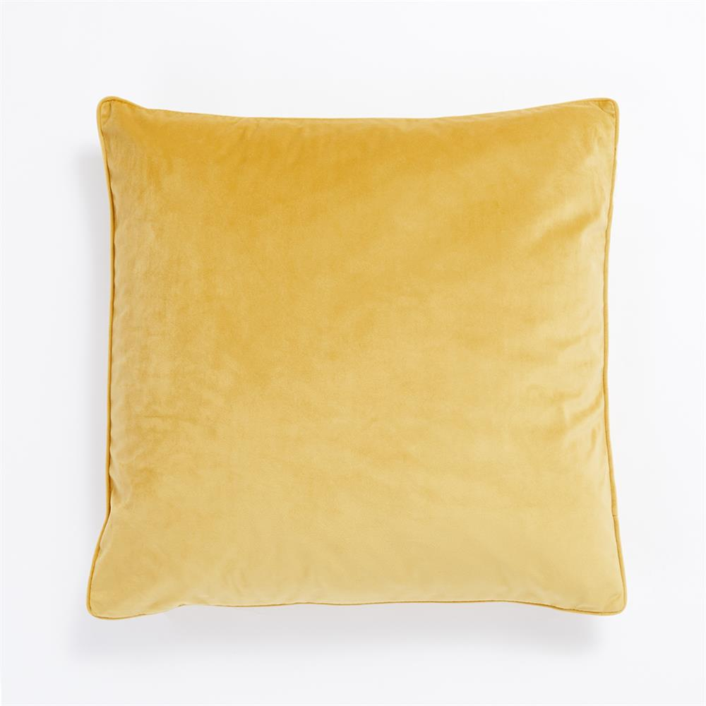 Picture of Home Collections Large Velvet Feather Cushion - Ochre