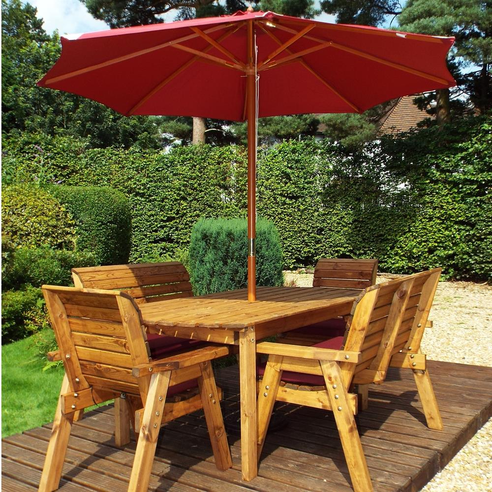 Picture of Charles Taylor Wooden Six Seat Rectangular Garden Furniture Set with Parasol & Cushions