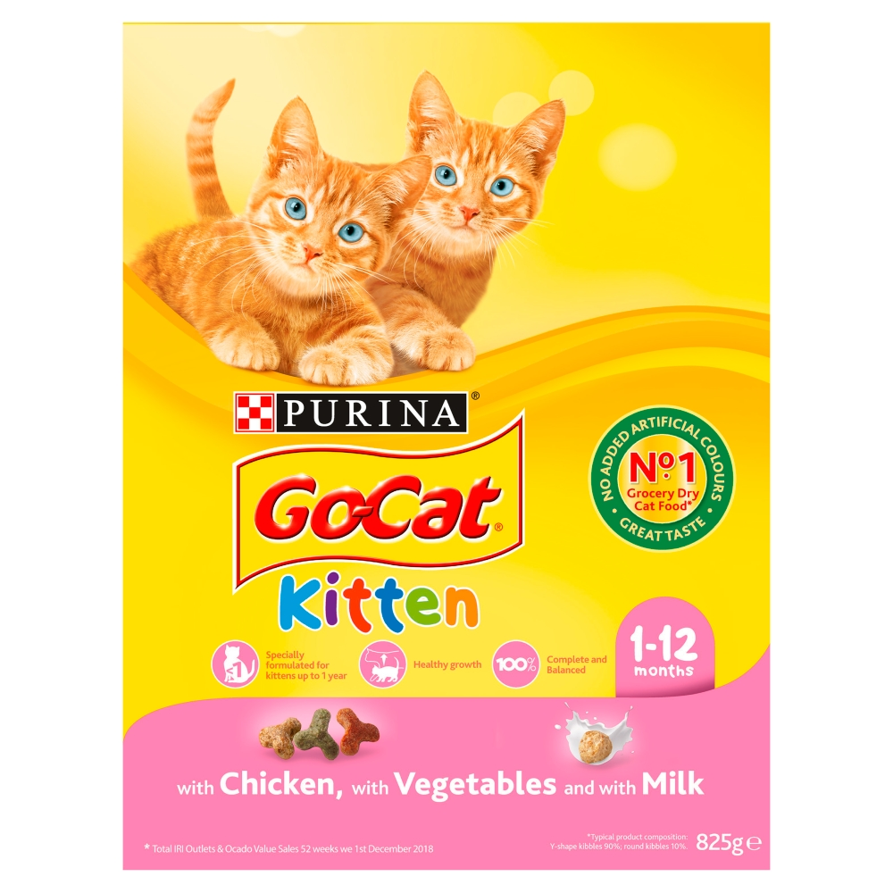 Picture of GO-CAT Kitten with Chicken &  Milk Dry Cat Food (Case of 5 x 825g)