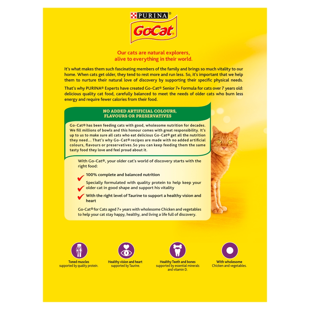 Picture of GO-CAT Senior with Chicken & Vegetables Dry Cat Food (Case of 5 x 825g)