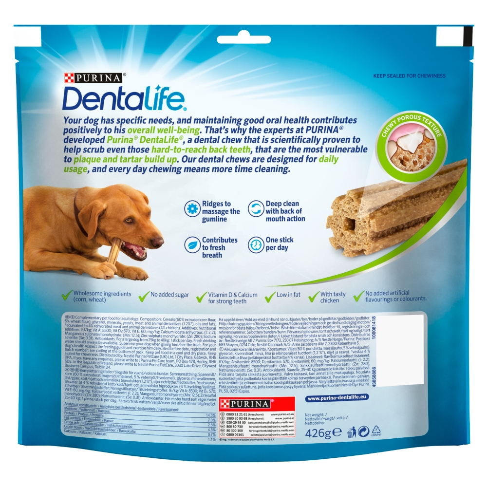 Picture of Dentalife Large Dog Treat Dental Chew (Case of 3 x 12 Stick Pack)