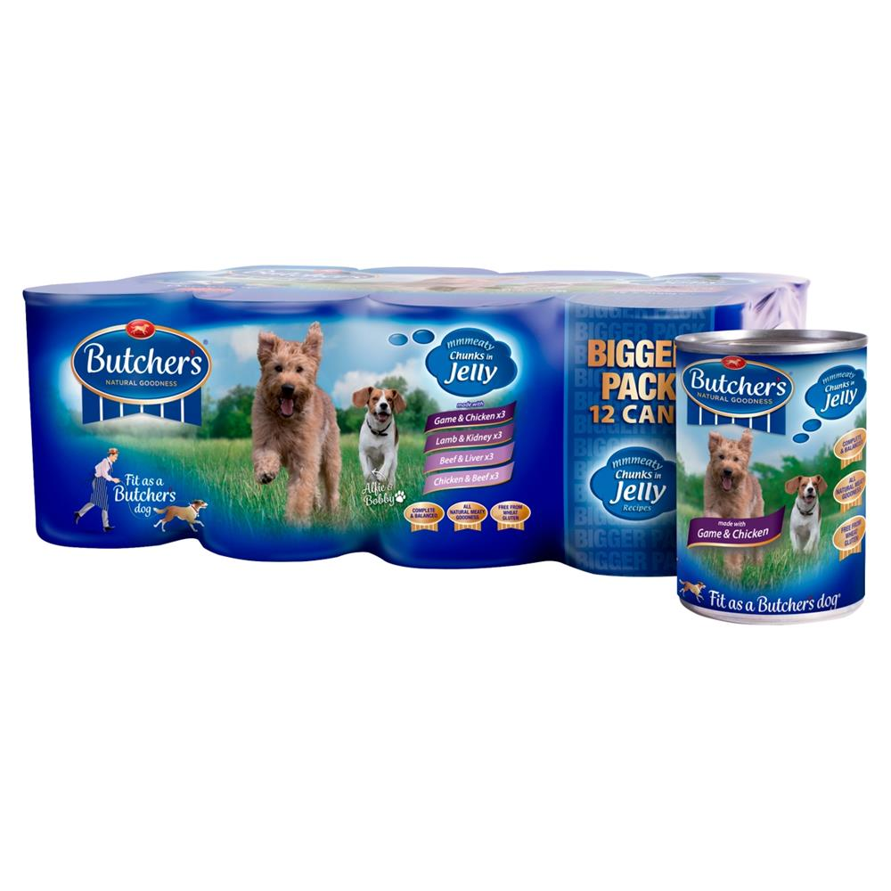 Picture of Butcher's Meaty Chunks in Jelly Dog Food Tins 12 x 400g