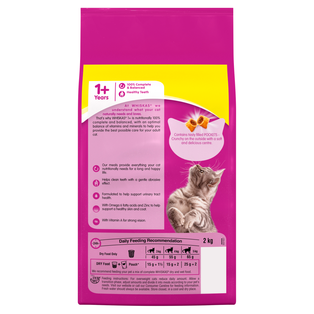 Picture of Whiskas 1+ Cat Food with Chicken Filled Pockets (8kg)