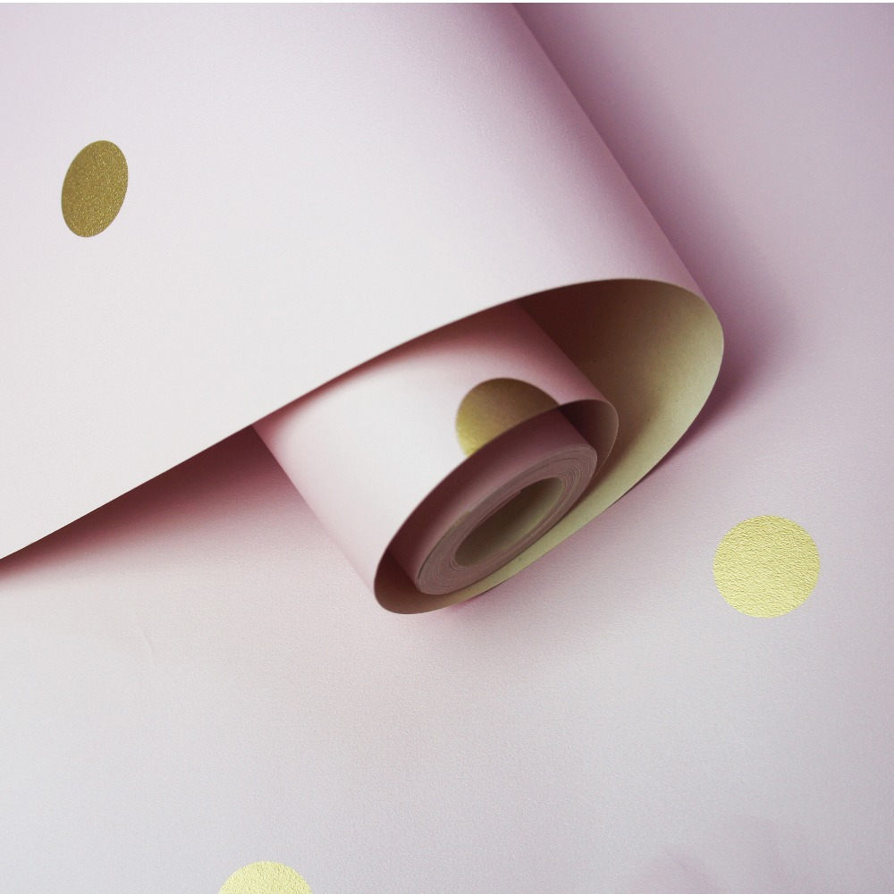 Picture of Dotty Pink/Gold Wallpaper