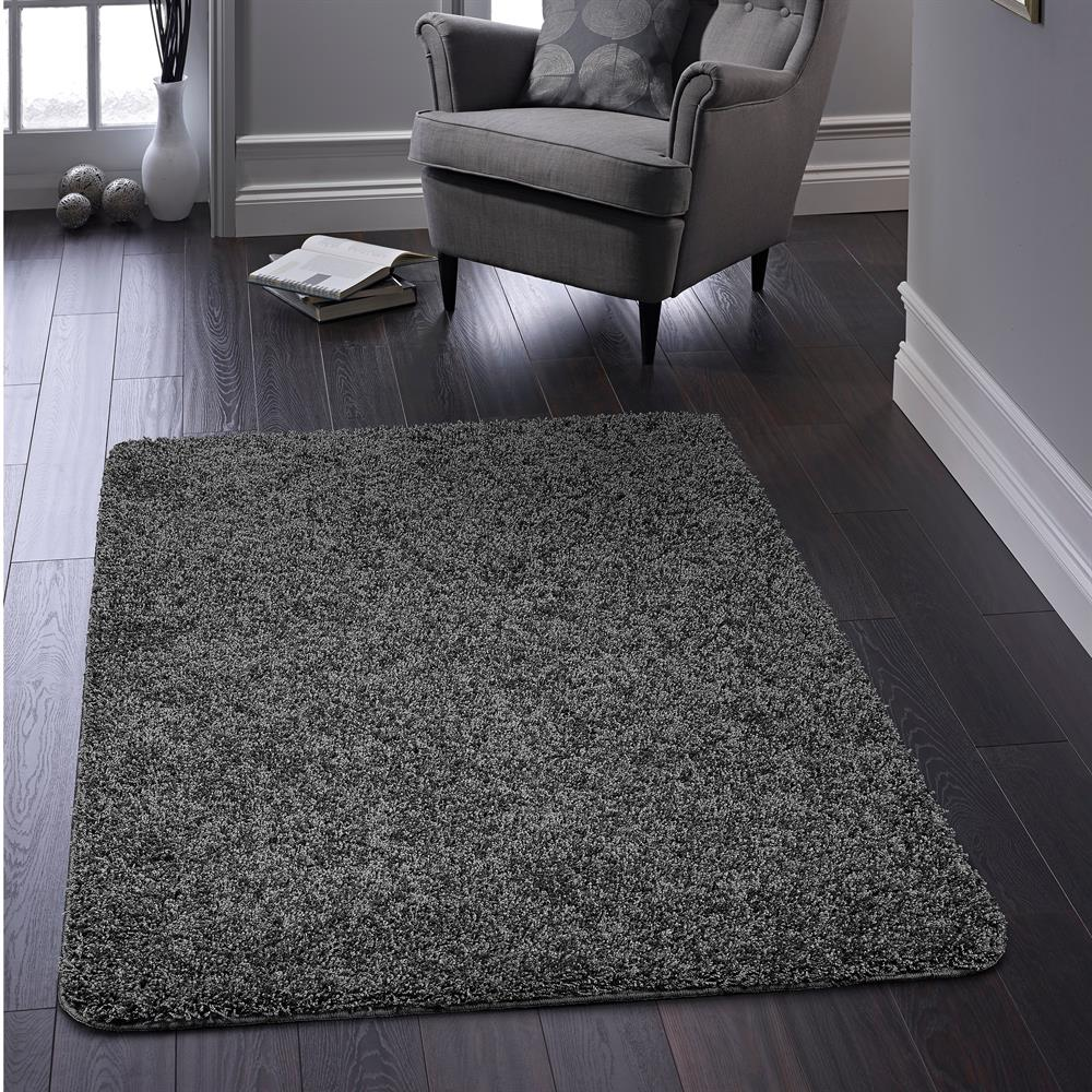 Picture of Home Collections Shaggy Washable Rug Charcoal 100 x 150cm