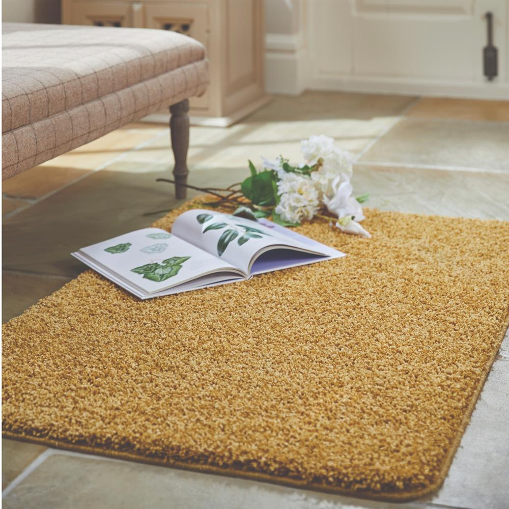 Picture of Home Collections Shaggy Washable Rug Ochre 100 x 150cm