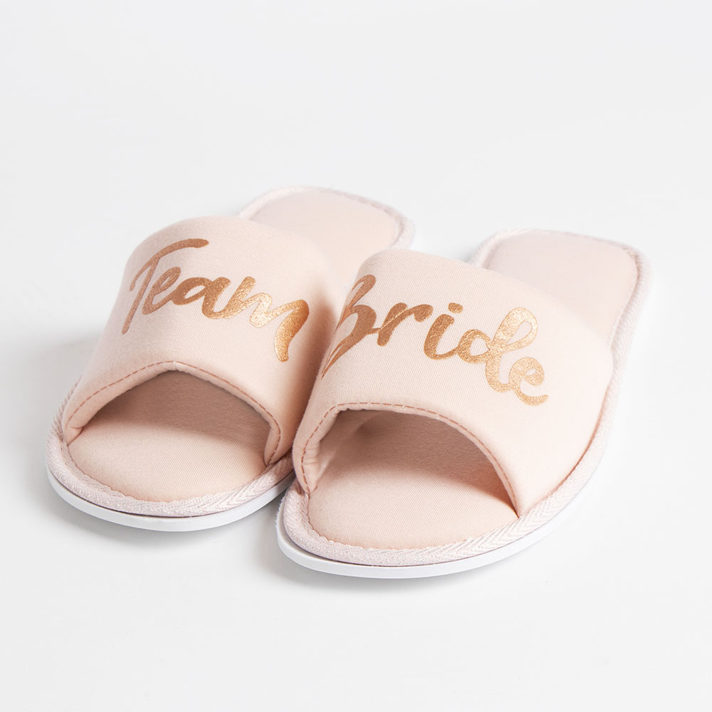 Picture of You & Me Team Bride Slippers: Pink