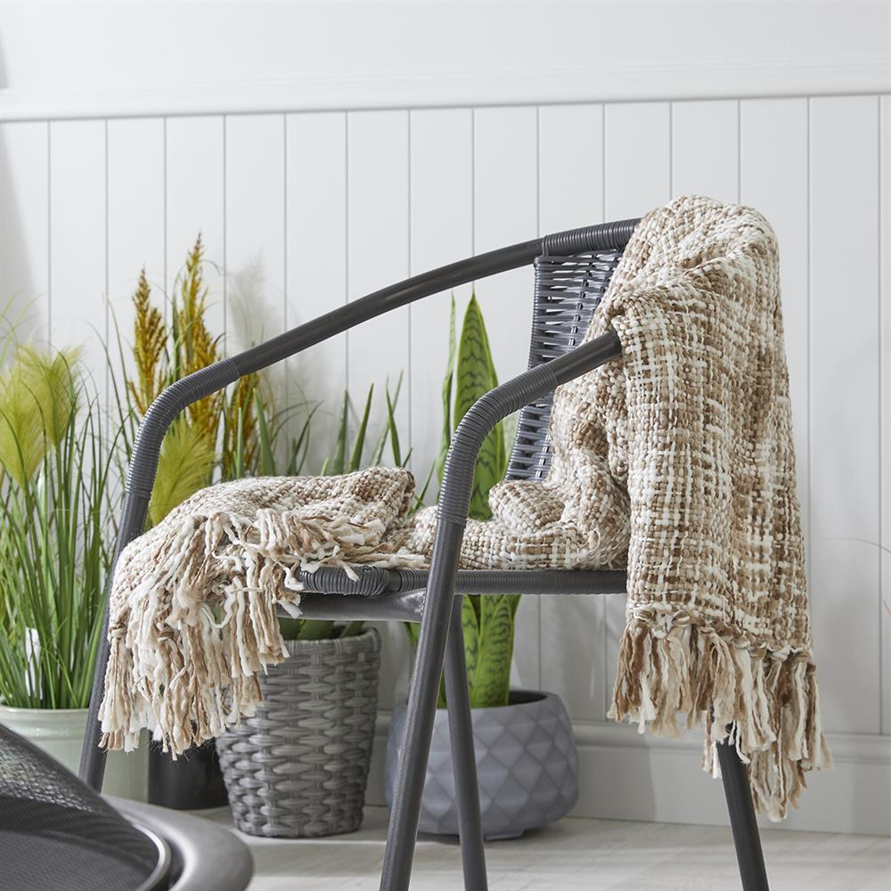 Picture of The Outdoor Living Collection: Fringed Throw - Mocha