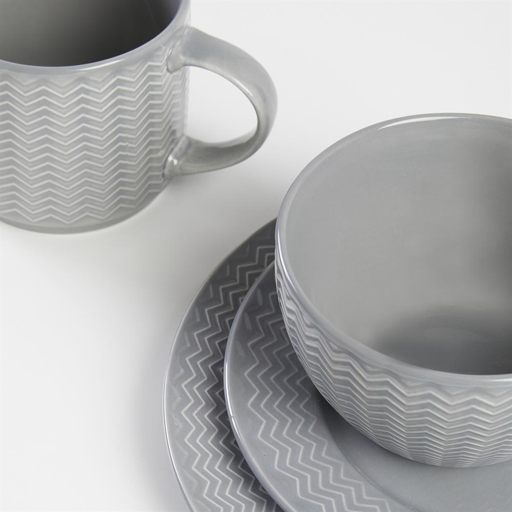 Picture of Carnaby Argyle 16 Piece Dinner Set: Grey Embossed