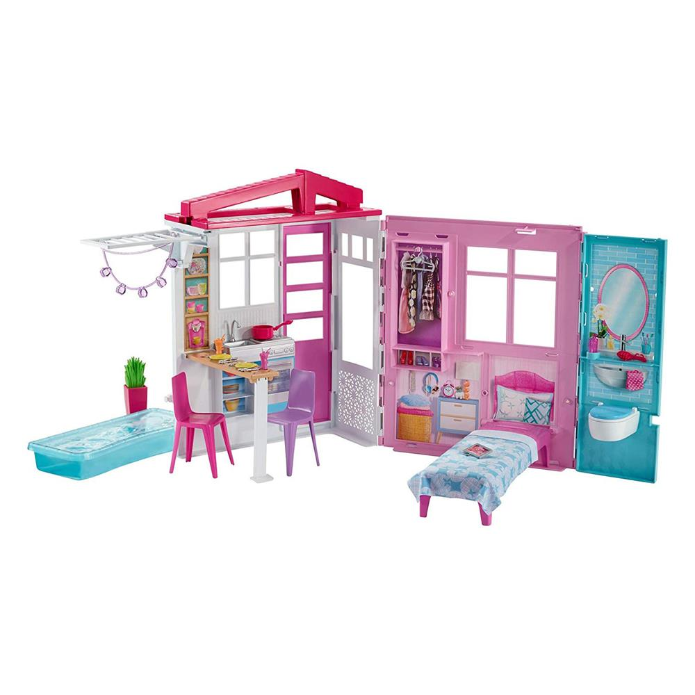Picture of Barbie: Dollhouse Portable 1-Story Play Set with Pool & Accessories