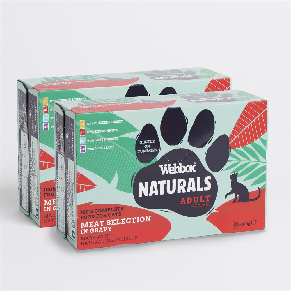 Picture of Webbox: Naturals Meat Selection in Gravy Wet Cat Food (Case Of 2 x 12 100g Pouches)