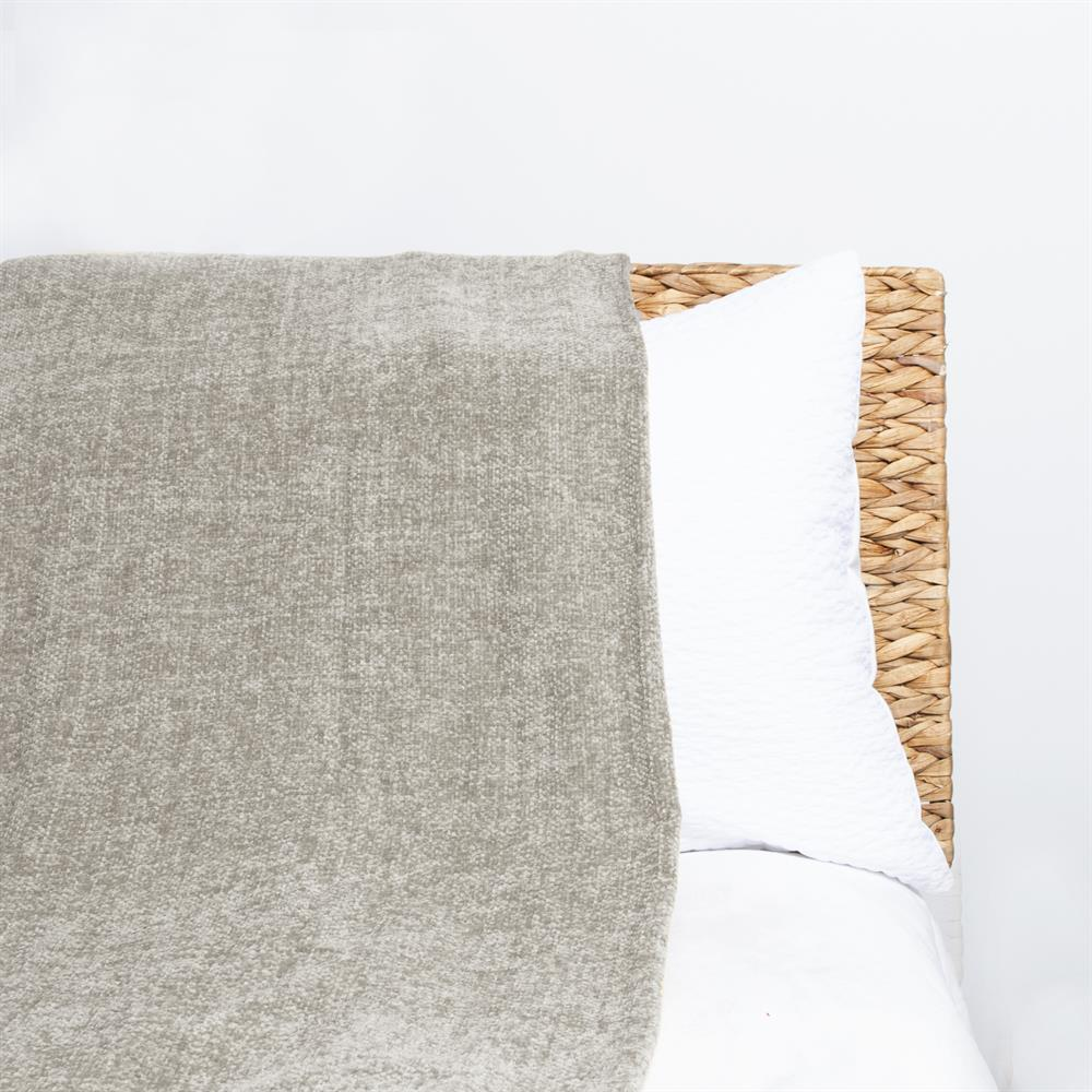 Picture of Home Collections Large Chenille Throw- Beige