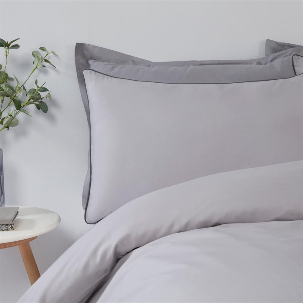 Picture of Sleepdown Contrast Piped Grey/Charcoal Reversible Duvet Set